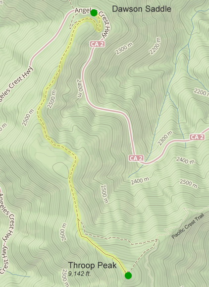Map of trail between Dawson Saddle and Throop Peak