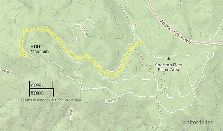 map of trail to Vetter Mountain, San Gabriel National Monument