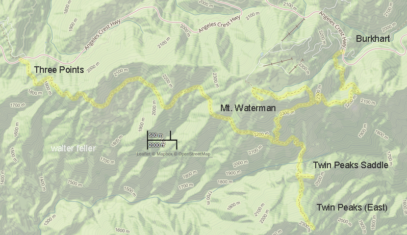 Map of hiking trail from Three Points way over to Twin Peaks and Mt. Waterman and on