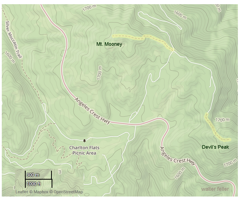 Trail map of Charleton Flats to Mt. Mooney hiking trail in San Gabriel National Monument