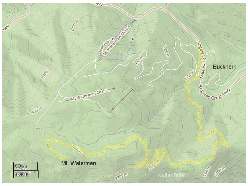 Trail map to summit of Mt. Waterman, San Gabriel National Monument