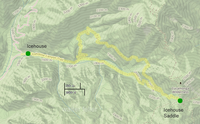 Map of Icehouse Canyon Trail